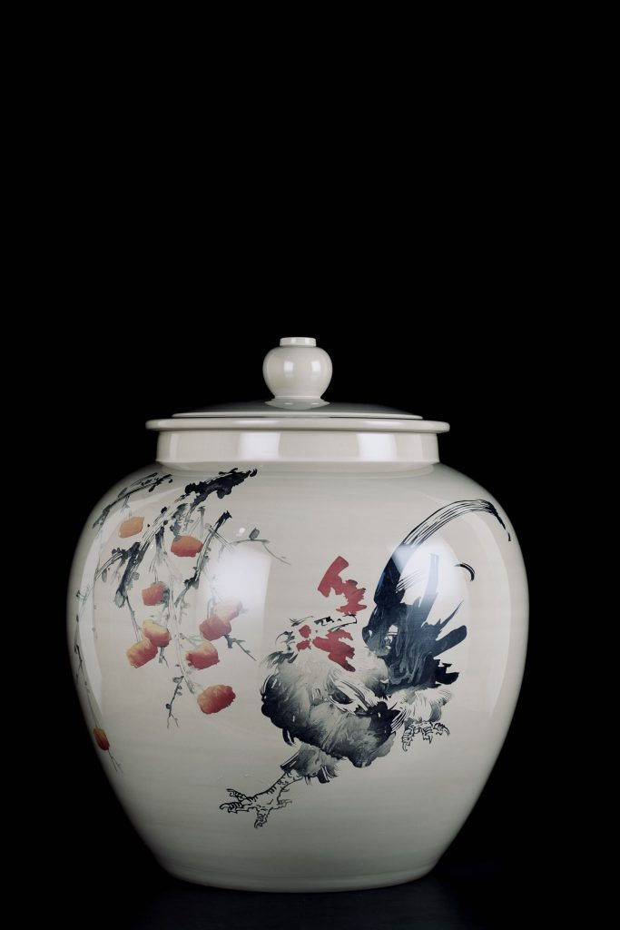 廖建忠养水缸-鸡图装饰-紫陶街