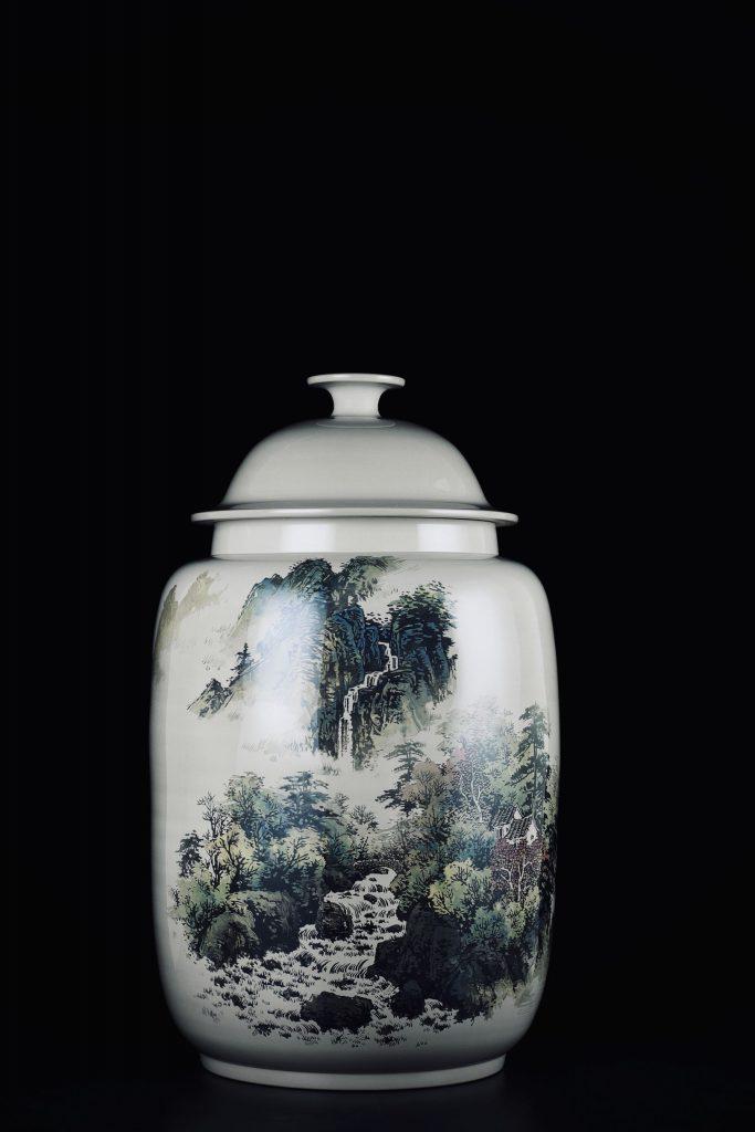 廖建忠青绿山水装饰紫陶缸-紫陶街