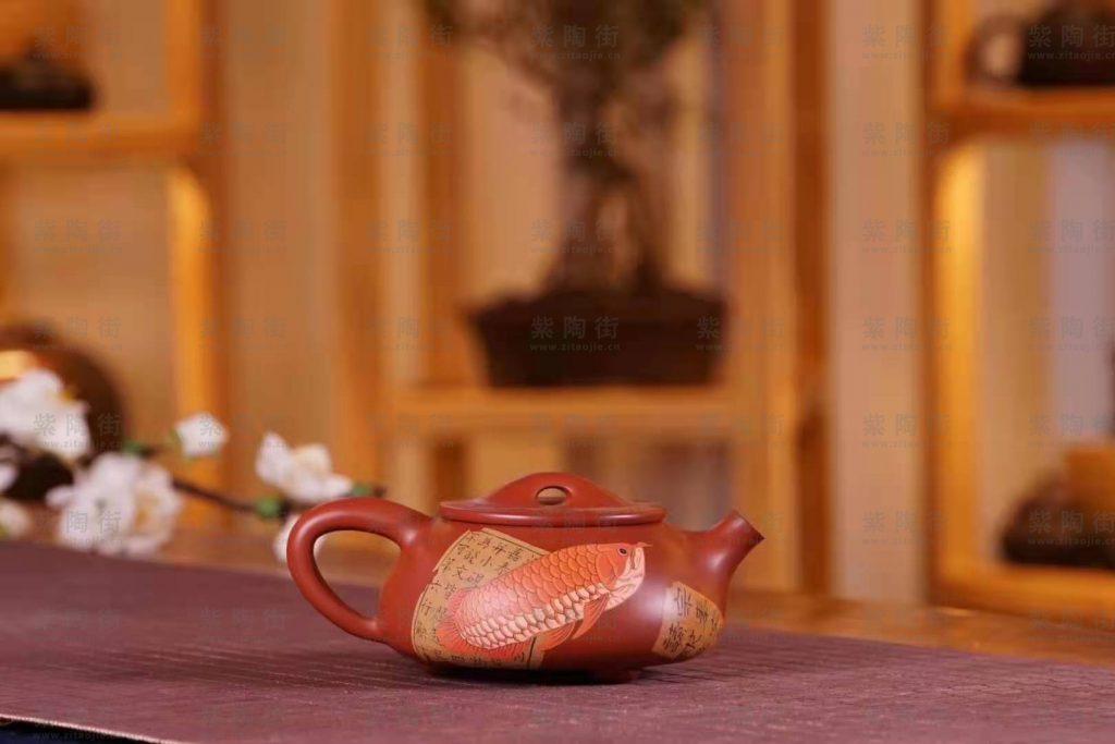 建水郭成和张坦联合制作:龙鱼石瓢壶-紫陶街