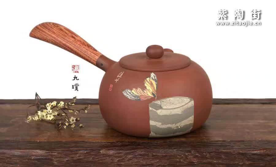 建水何建木柄紫陶茶壶系列-侧把壶-紫陶街