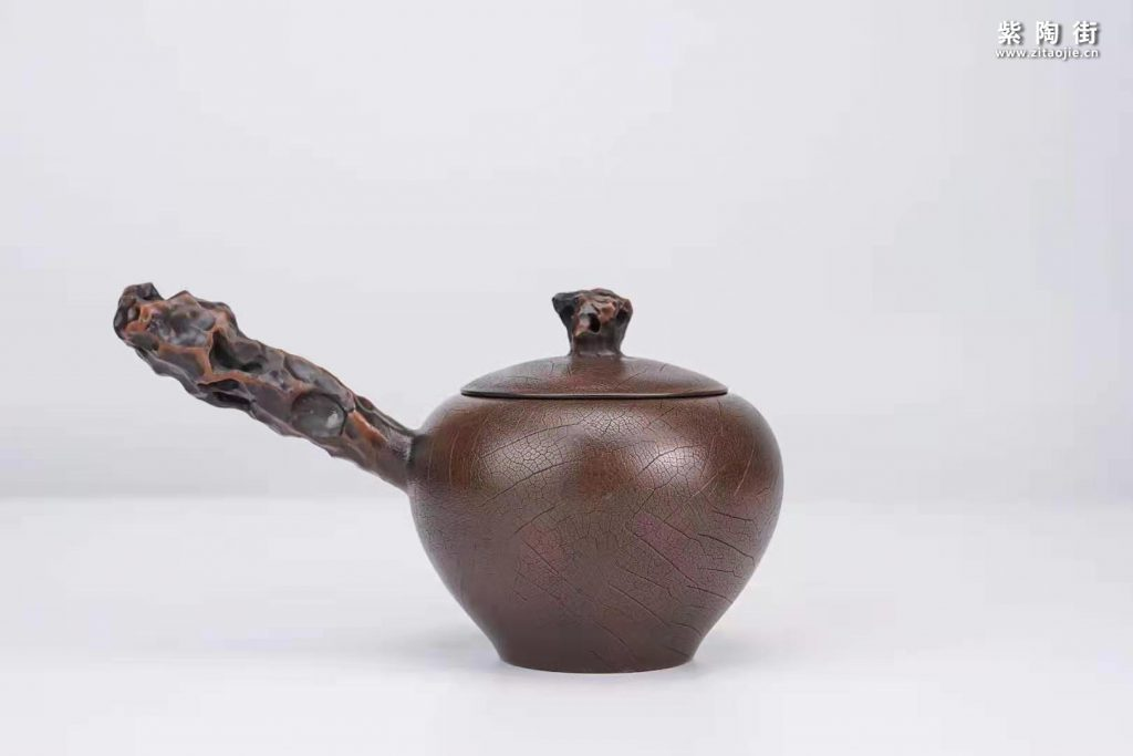 菩提纹紫陶壶欣赏:菩提侧把壶、扁西施、井栏壶插图1