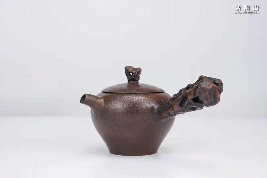 菩提纹紫陶壶欣赏:菩提侧把壶、扁西施、井栏壶插图2