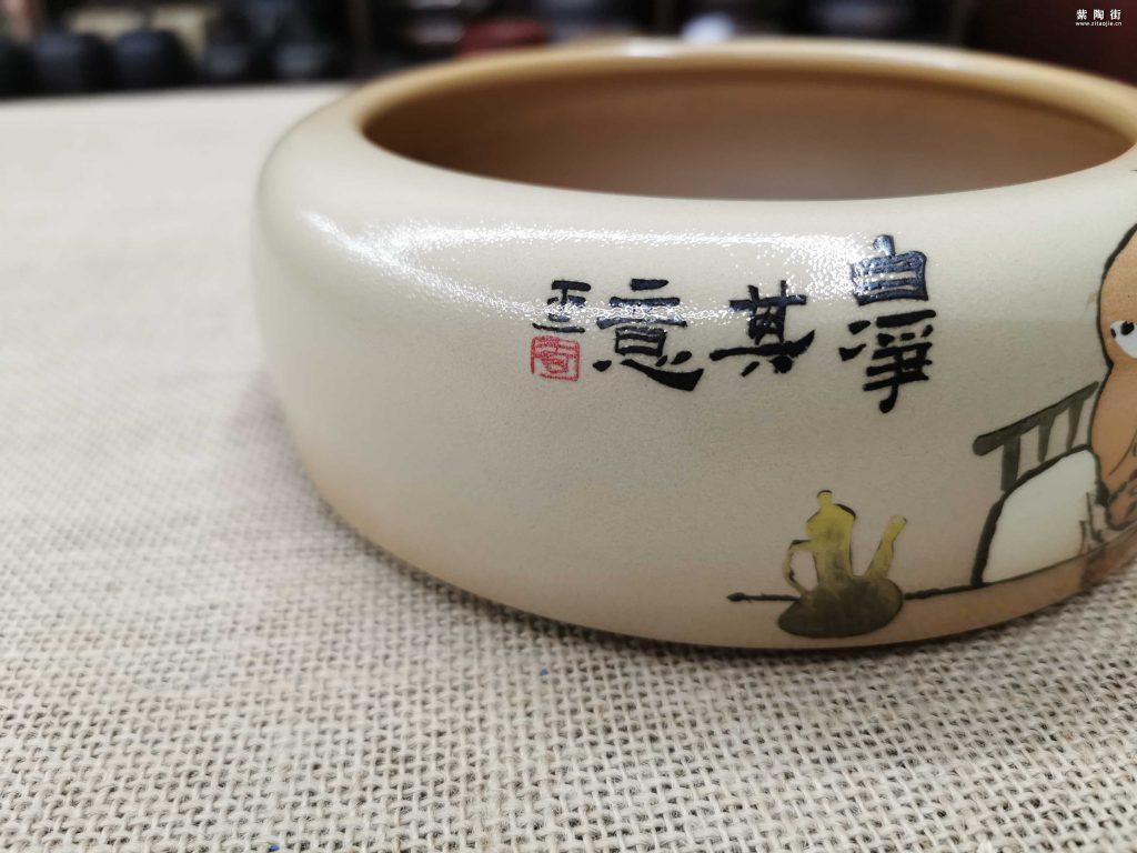 不二陶王霁乐烧作品-彩填人物水洗插图2