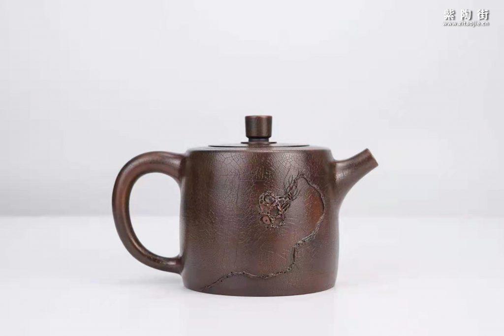菩提纹紫陶壶欣赏:菩提侧把壶、扁西施、井栏壶插图6