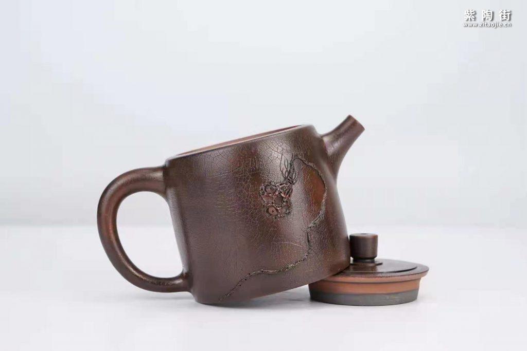 菩提纹紫陶壶欣赏:菩提侧把壶、扁西施、井栏壶插图8