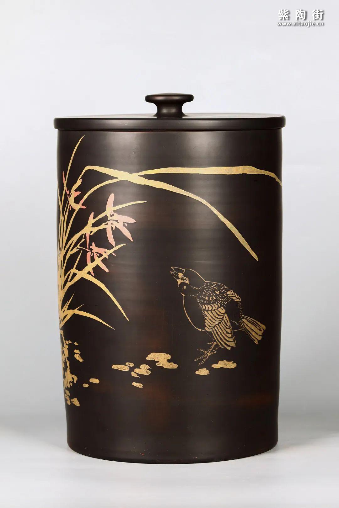 花鸟装饰的建水紫陶茶缸插图4