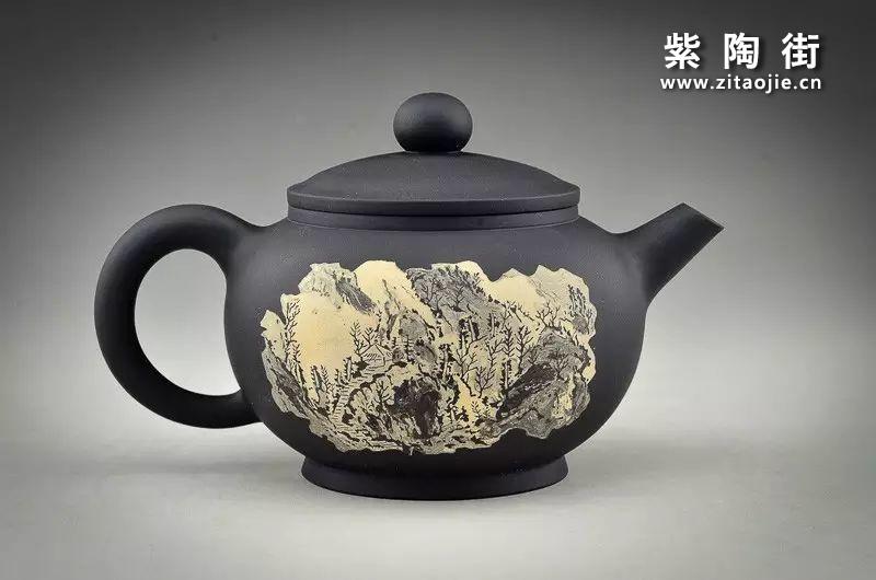 王志伟水墨山水装饰紫陶壶插图4