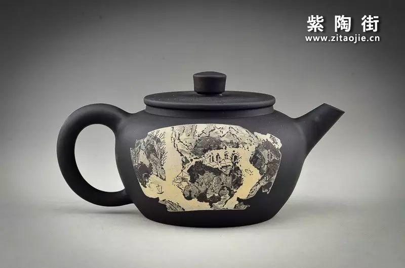 王志伟水墨山水装饰紫陶壶插图6