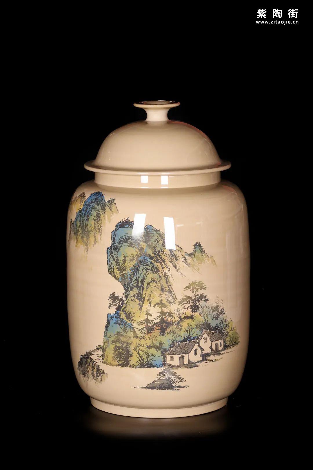廖建忠、廖渊涵的青绿山水装饰紫陶缸插图4