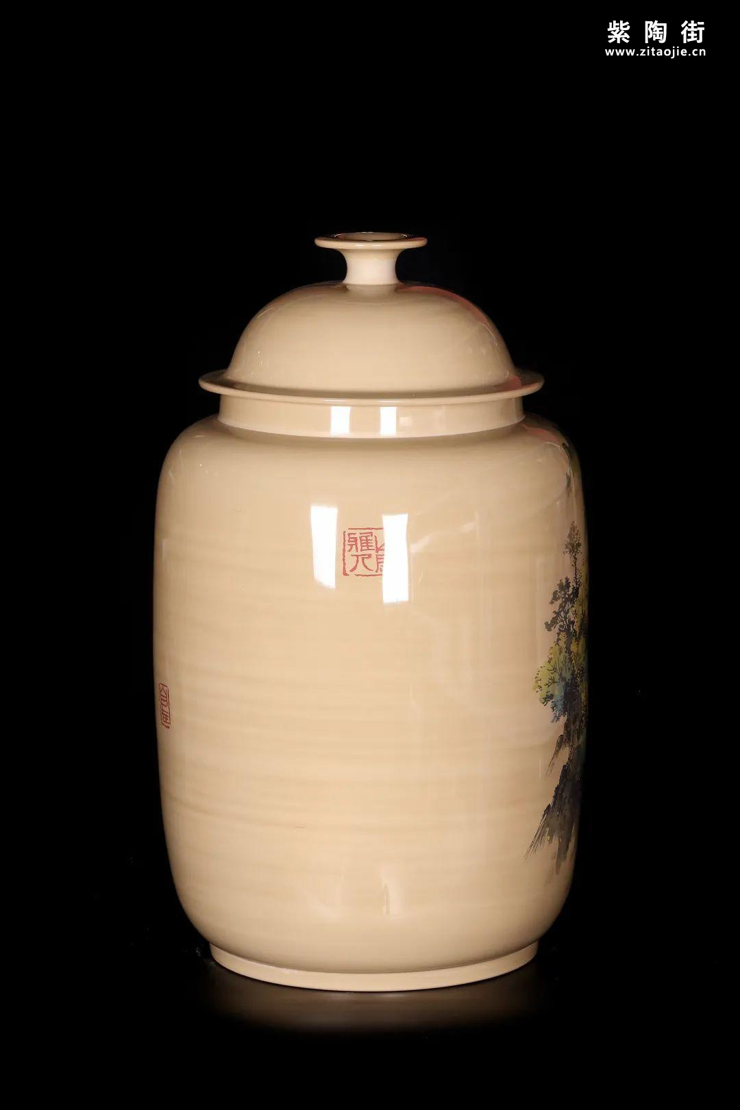 廖建忠、廖渊涵的青绿山水装饰紫陶缸插图9