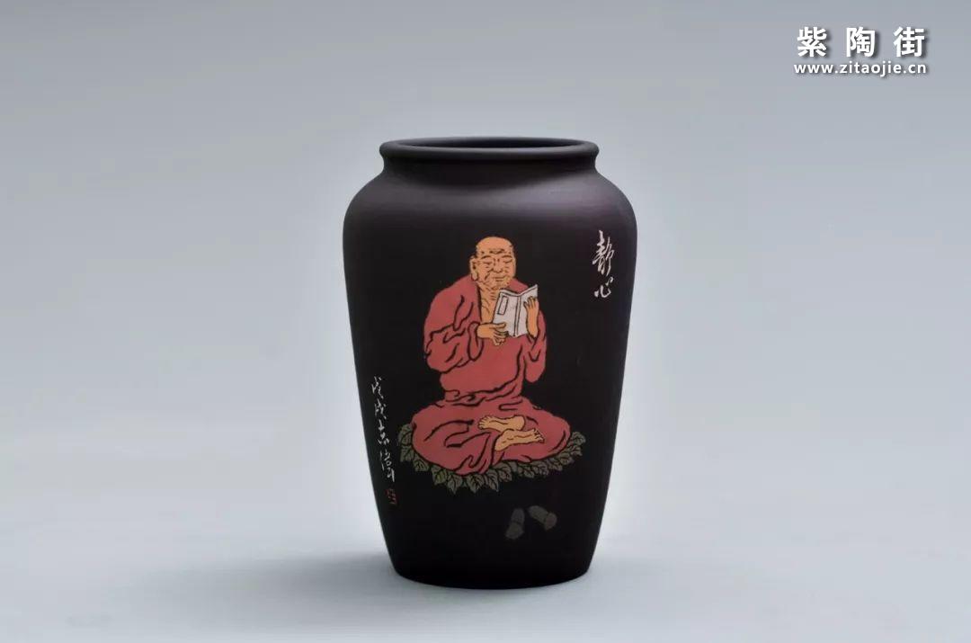 王志伟紫陶禅宗八境花瓶摆件插图8