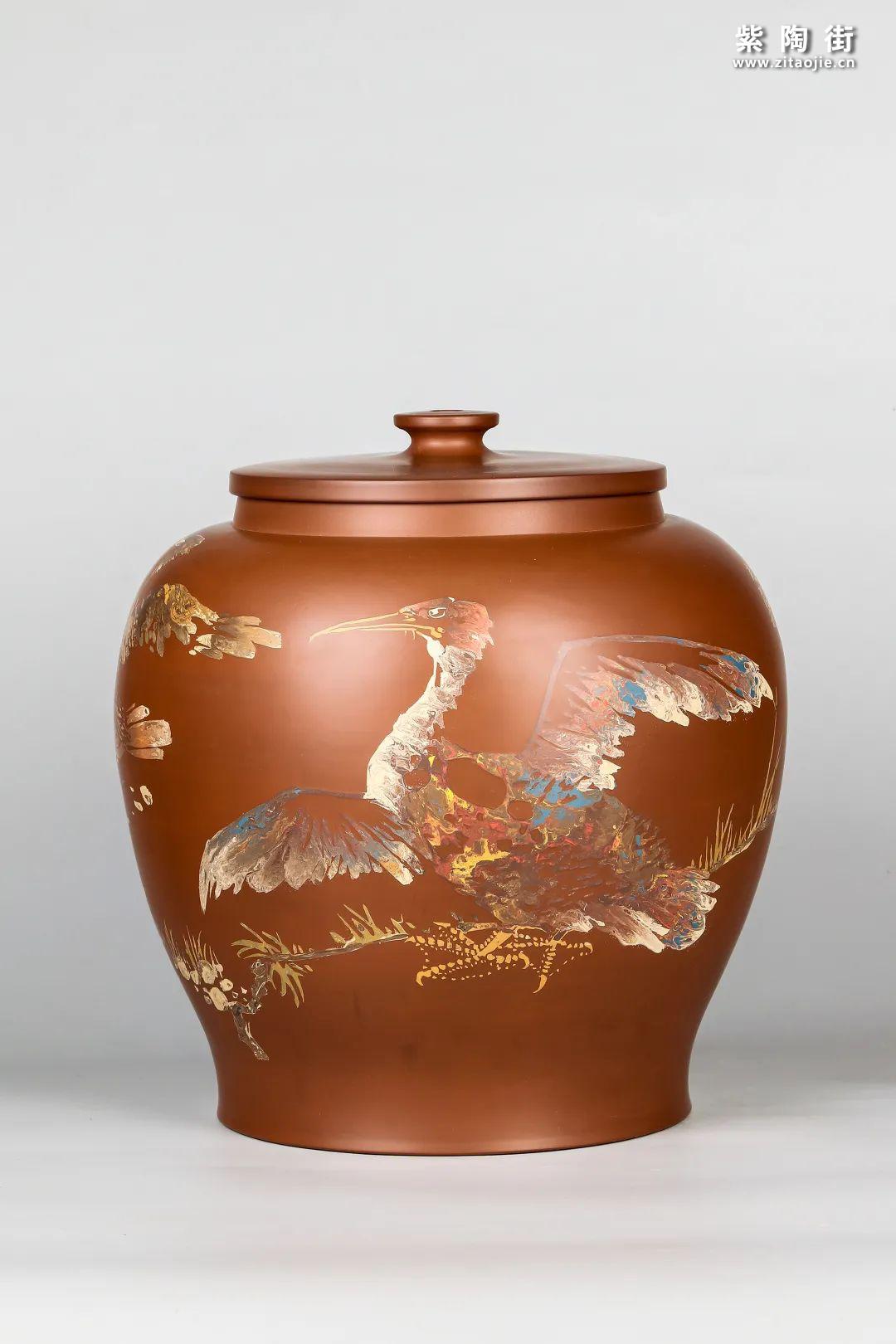 花鸟装饰的建水紫陶茶缸插图2