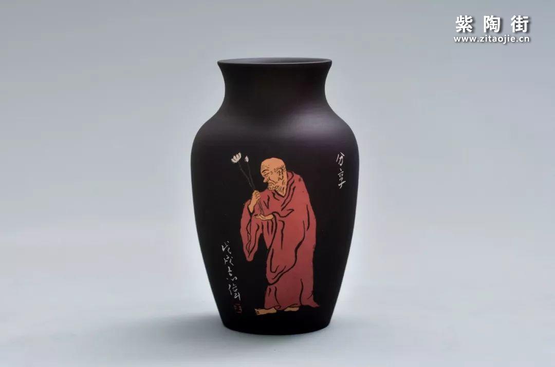 王志伟紫陶禅宗八境花瓶摆件插图3