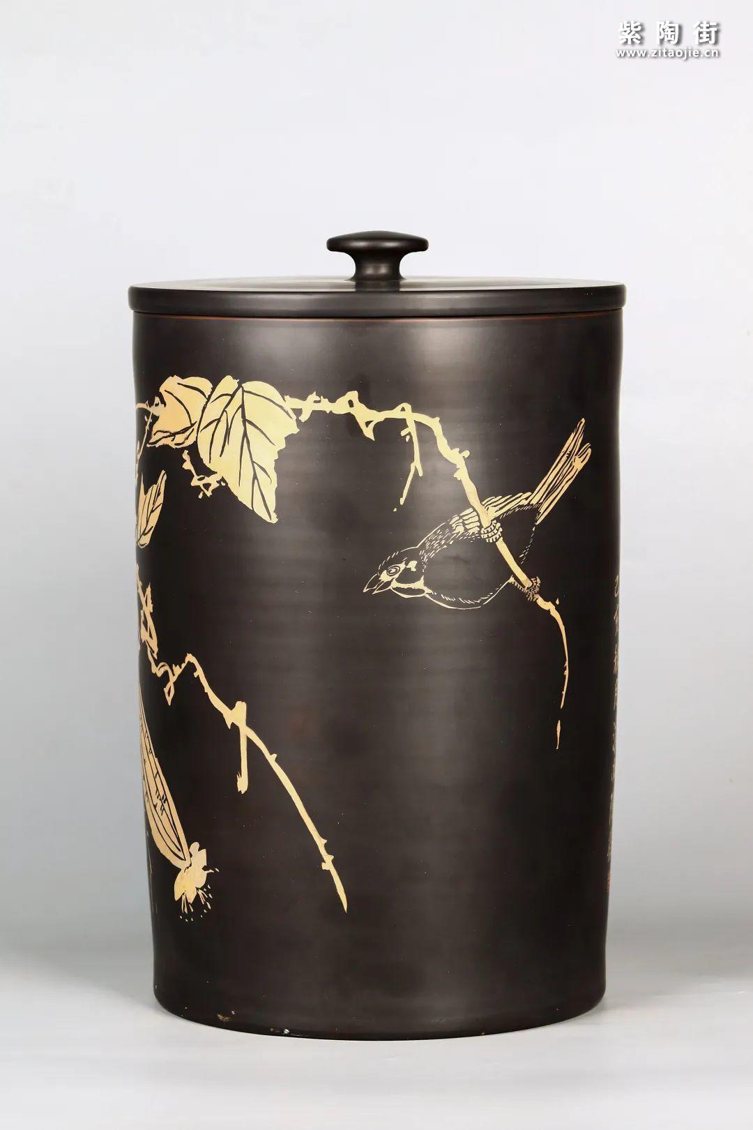 花鸟装饰的建水紫陶茶缸插图7