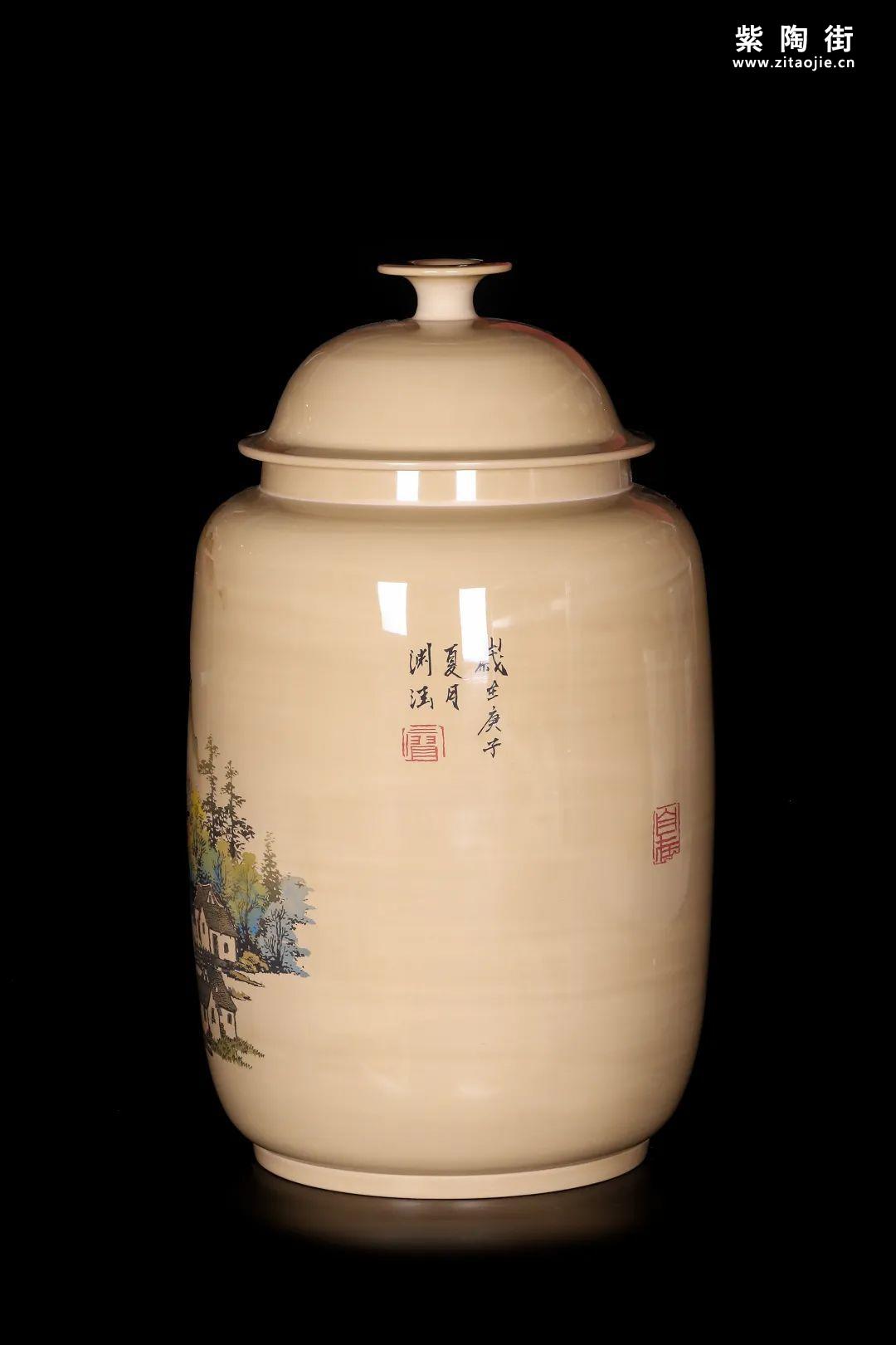 廖建忠、廖渊涵的青绿山水装饰紫陶缸插图3