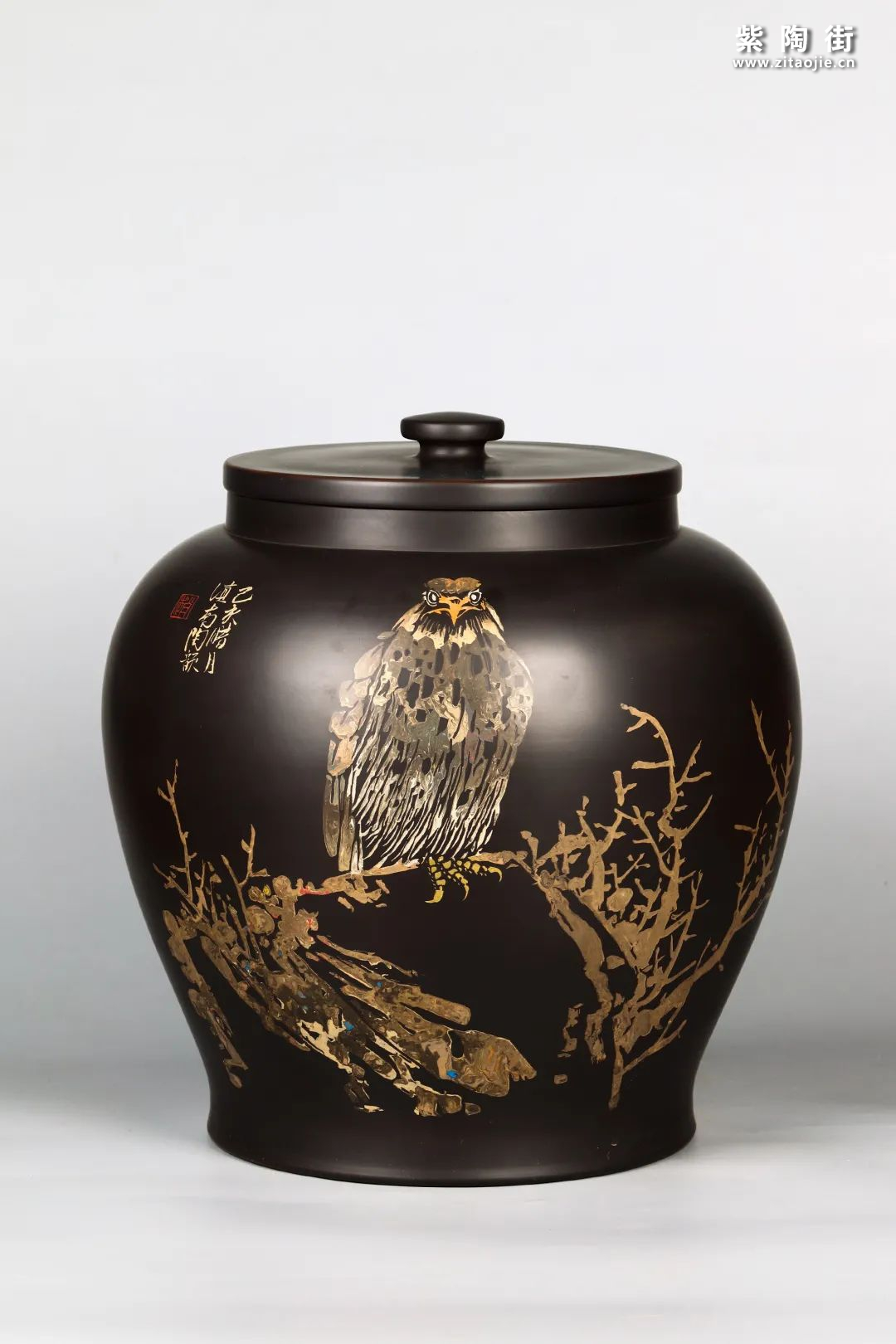 花鸟装饰的建水紫陶茶缸插图17