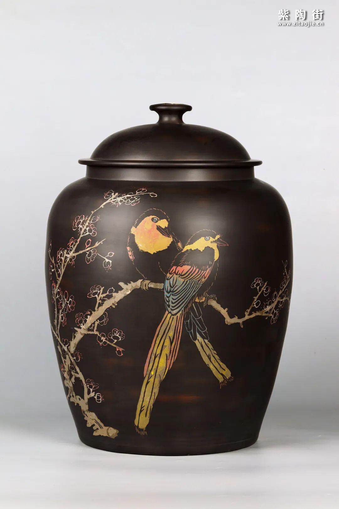 花鸟装饰的建水紫陶茶缸插图13