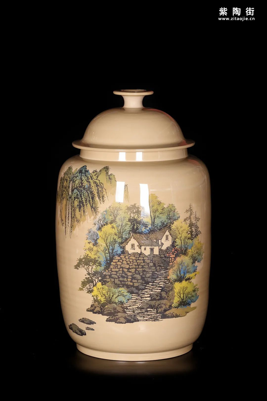 廖建忠、廖渊涵的青绿山水装饰紫陶缸插图6