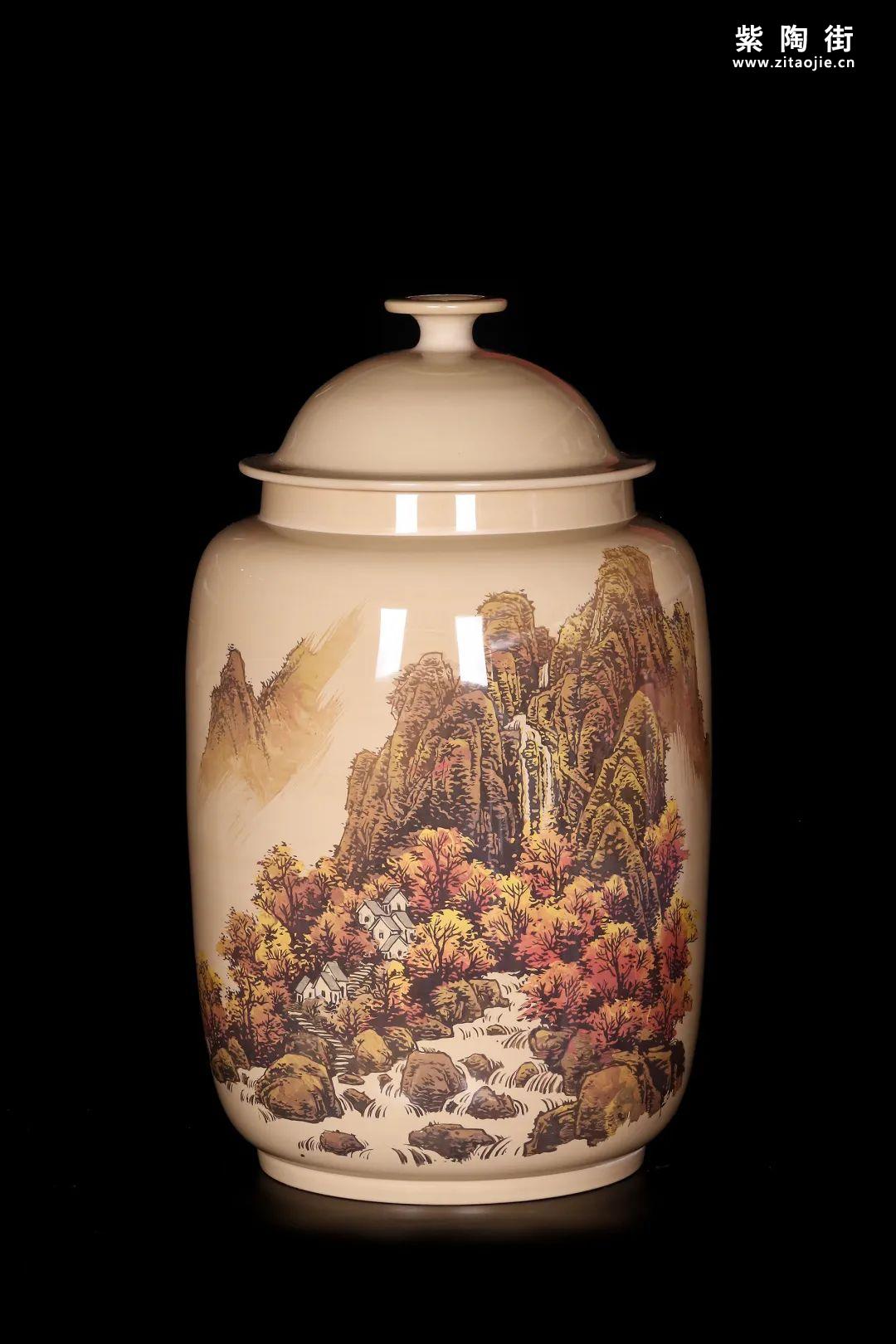 廖建忠、廖渊涵的青绿山水装饰紫陶缸插图