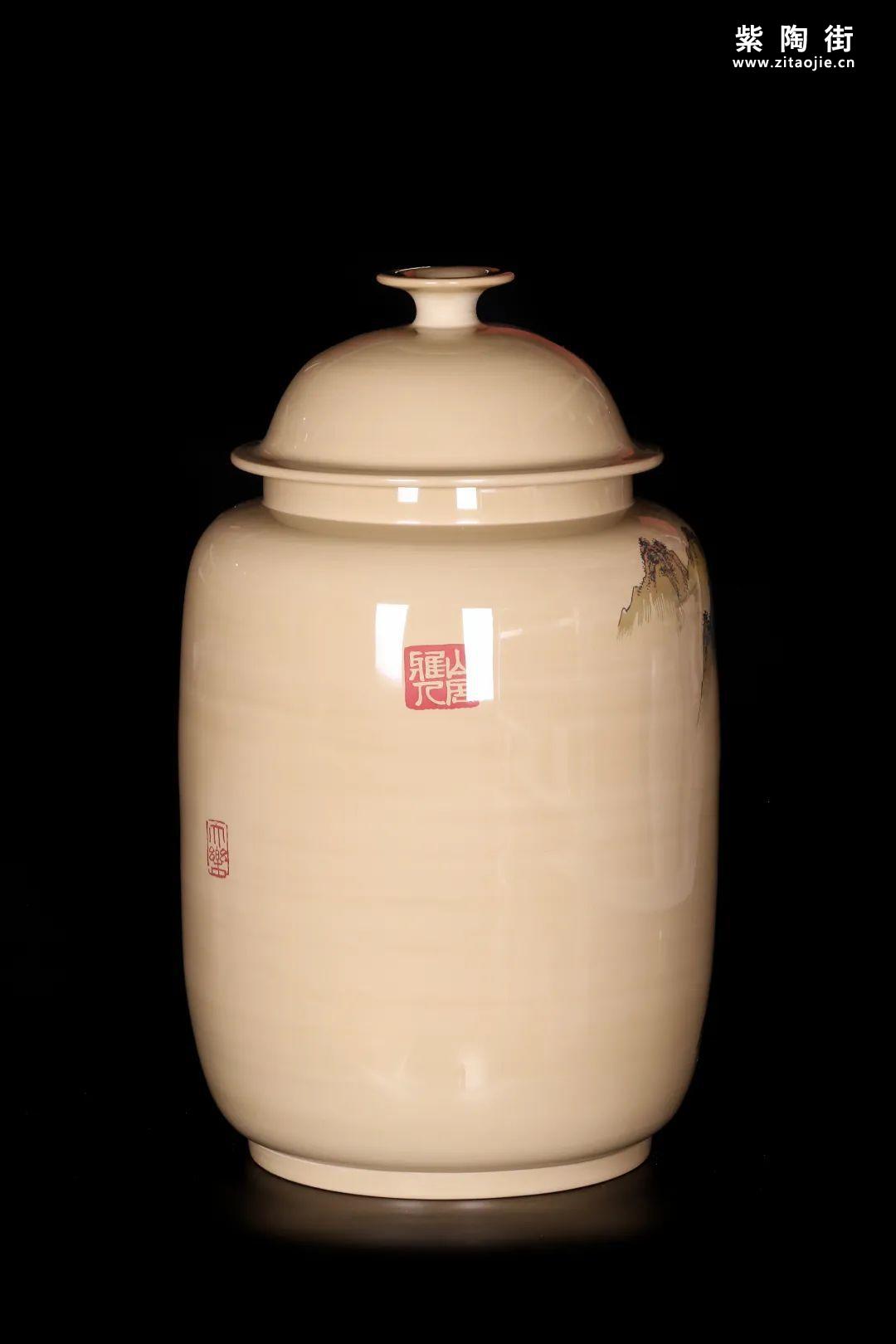 廖建忠、廖渊涵的青绿山水装饰紫陶缸插图5