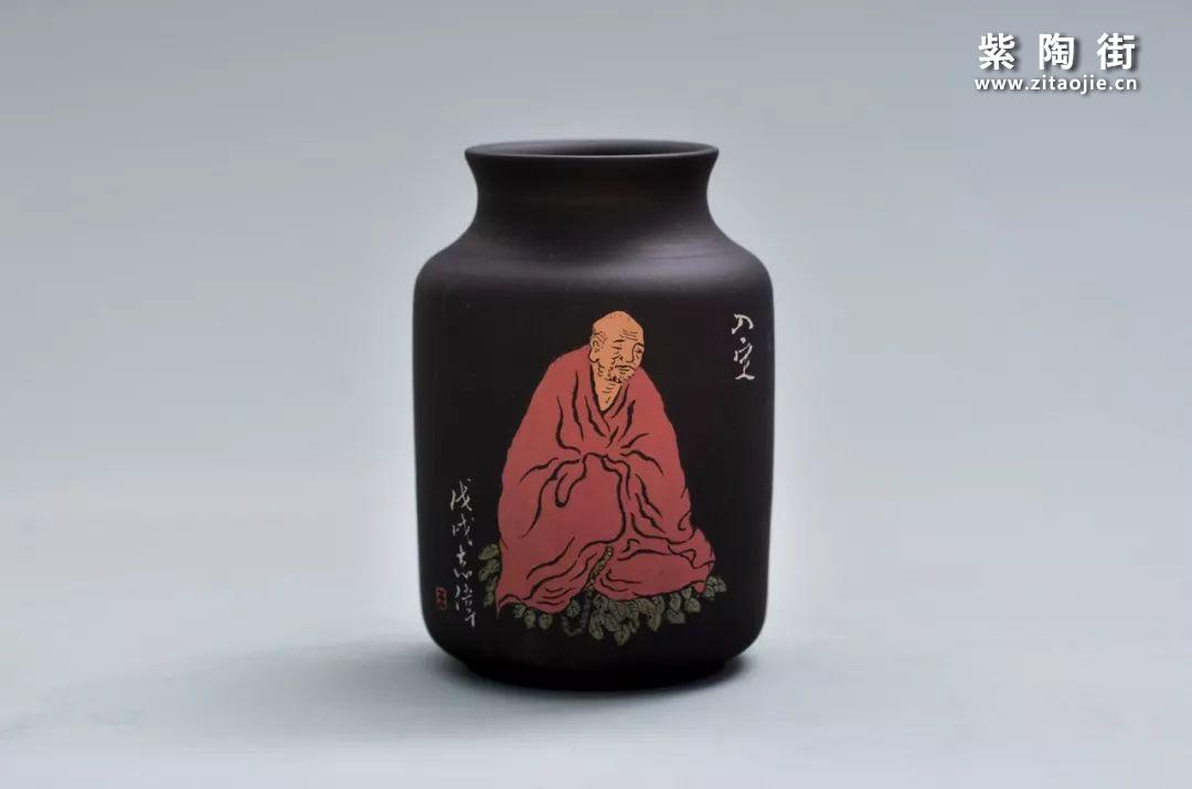 王志伟紫陶禅宗八境花瓶摆件插图5