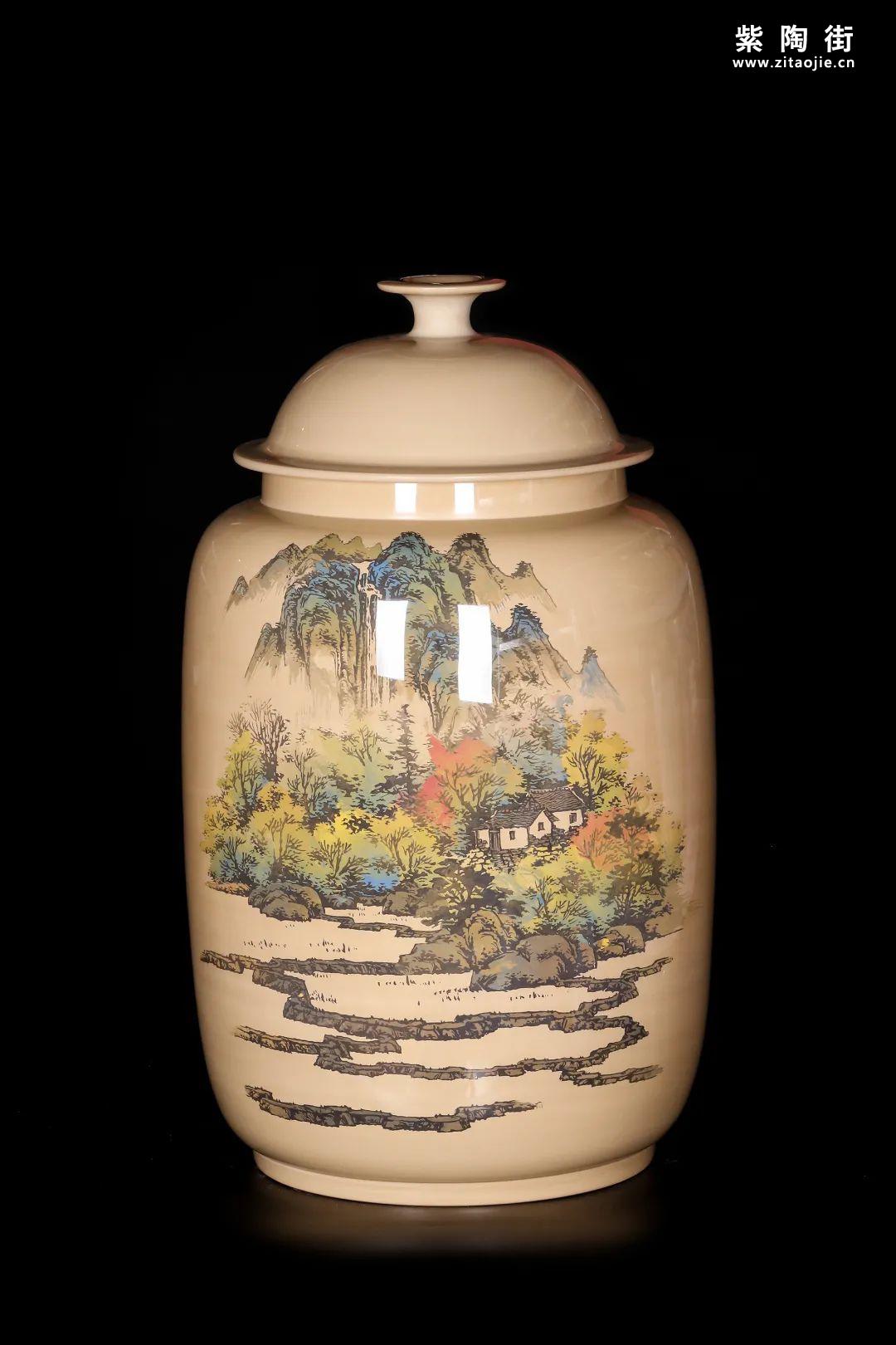 廖建忠、廖渊涵的青绿山水装饰紫陶缸插图14