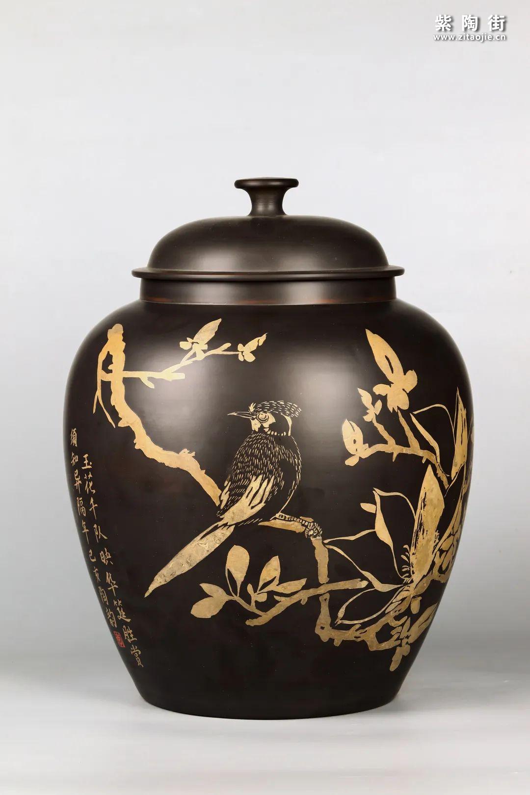花鸟装饰的建水紫陶茶缸插图14